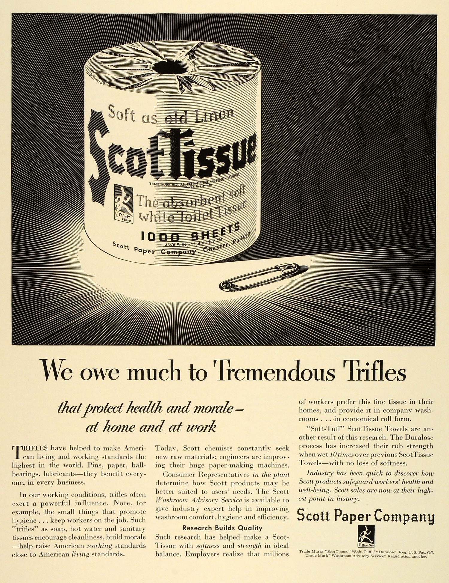 1942 Ad ScotTissue Paper Household Products WWII War Production Health FZ6