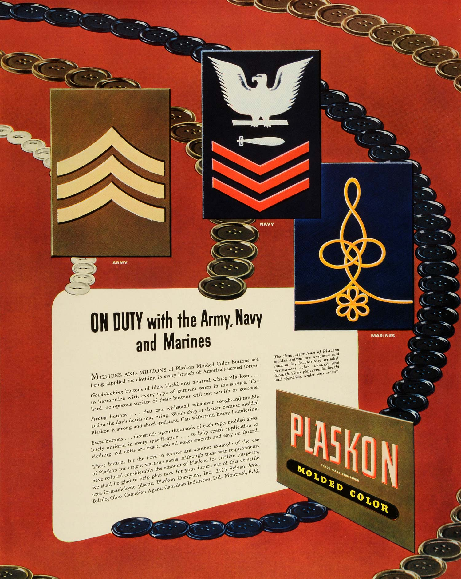 1942 Ad Plaskon Molded Color Military Clothing Buttons Army Navy Marines FZ6