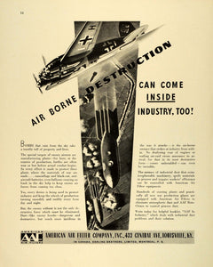 1942 Ad AAF Roto Clones American Air Filters WWII War Production Plants FZ6