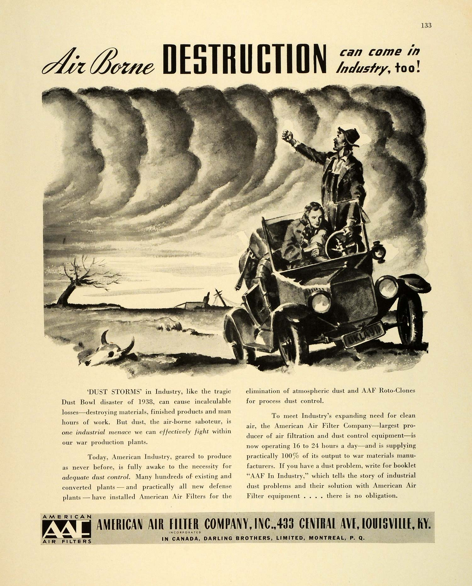 1942 Ad AAF American Air Filter 1938 Dust Bowl WWII War Production Antique FZ6