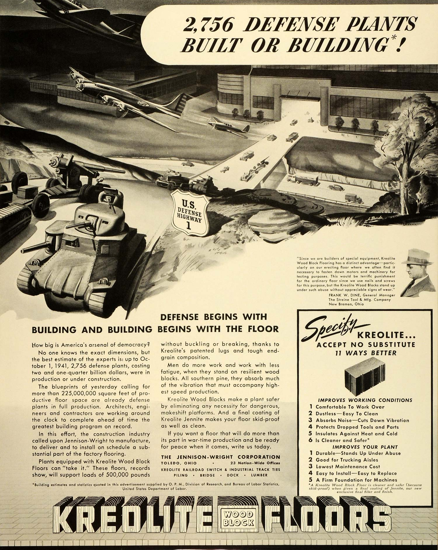 1942 Ad Kreolite Jennite Wood Block Floor Streine Tool WWII War Production FZ6