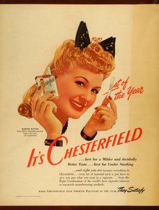 1942 Ad Chesterfield Cigarettes Liggett Myers Marion Hutton Moonlight FZ6