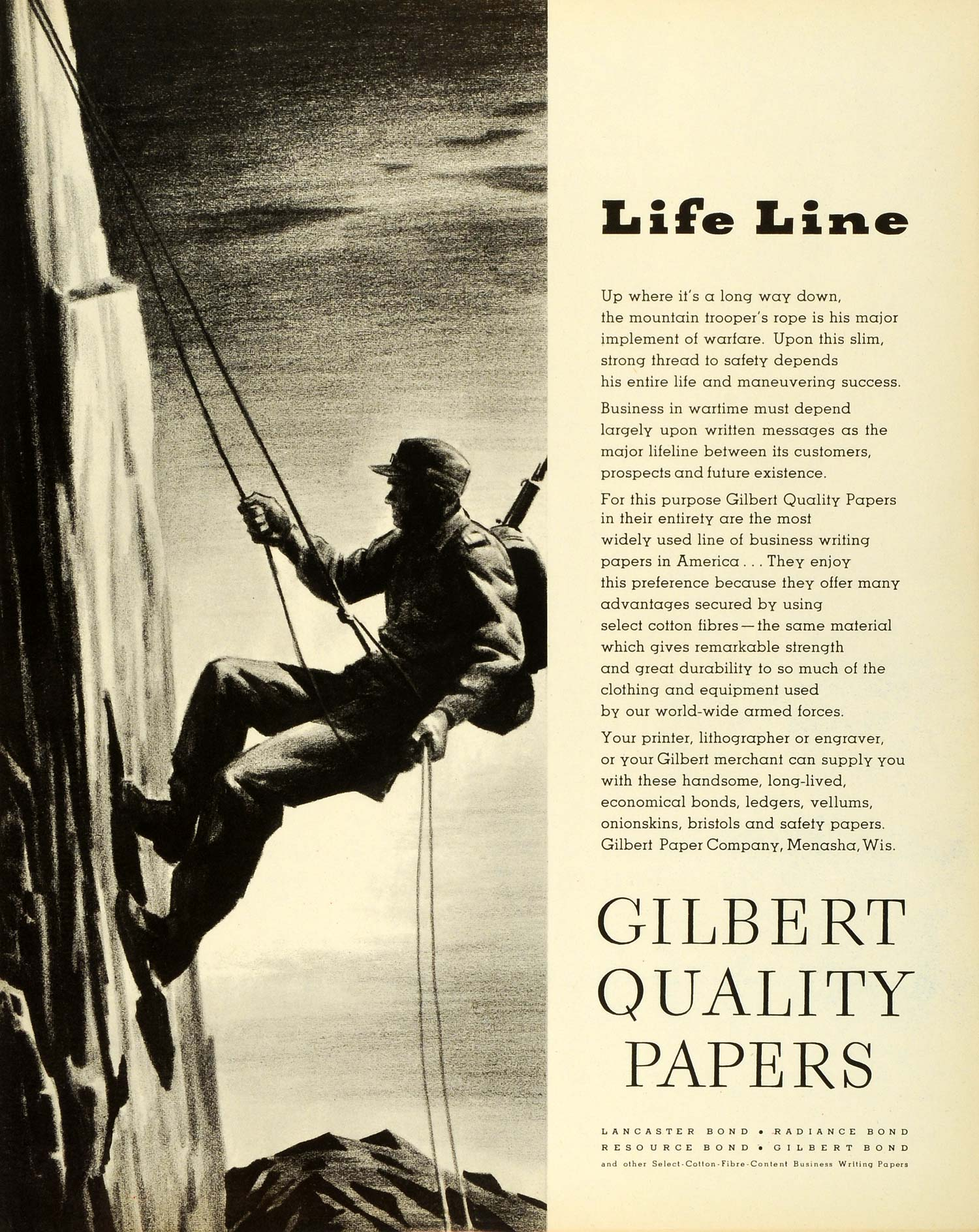 1943 Ad Gilbert Paper Co Menasha WI Quality Papers Mountain Trooper's Rope FZ6