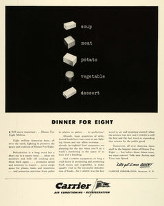 1943 Ad Carrier Corp Syracuse NY Air Conditioning Refrigeration Square Meal FZ6