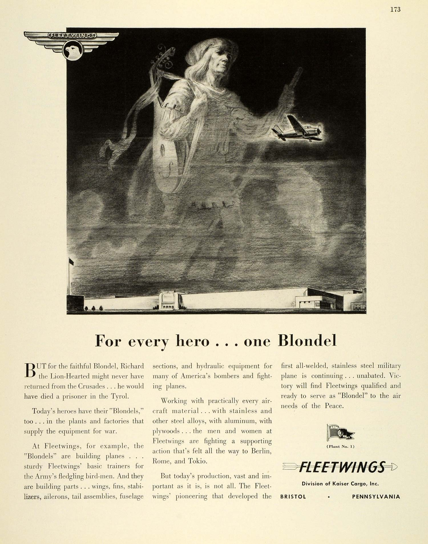 1943 Ad Kaiser Cargo Fleetwings Blondel Aircraft Airplanes WWII War FZ6