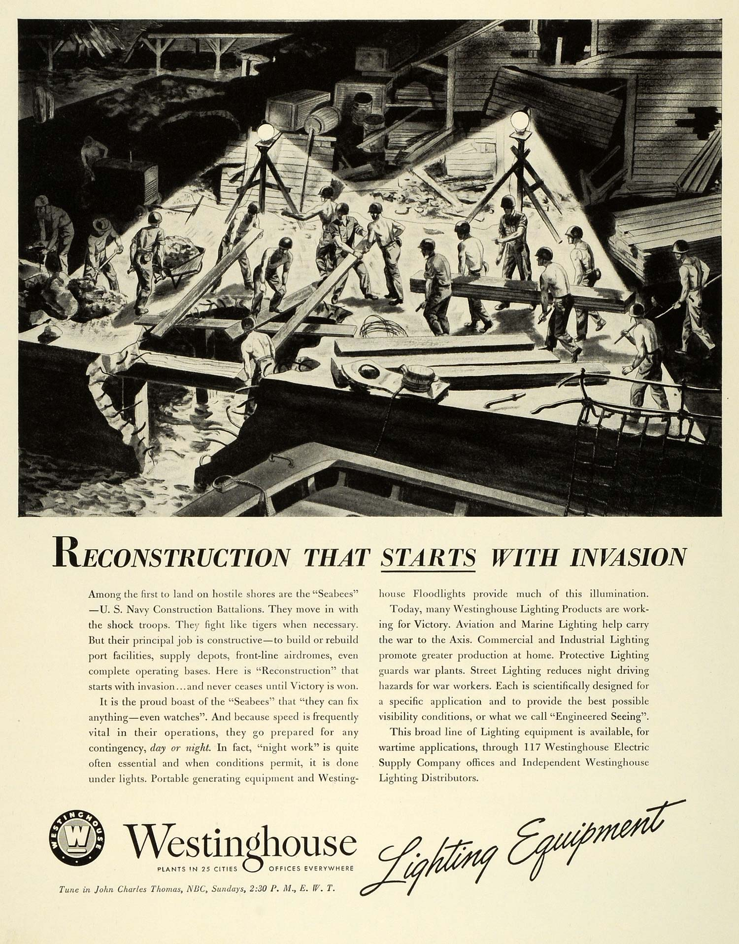 1943 Ad Westinghouse Lighting Equipment WWII War Production Navy FZ6