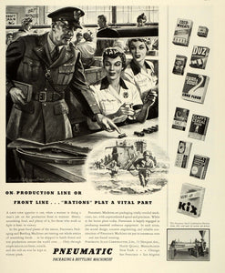 1943 Ad Pneumatic Packaging Bottling WWII War Production Rosie Riveter Sue FZ6