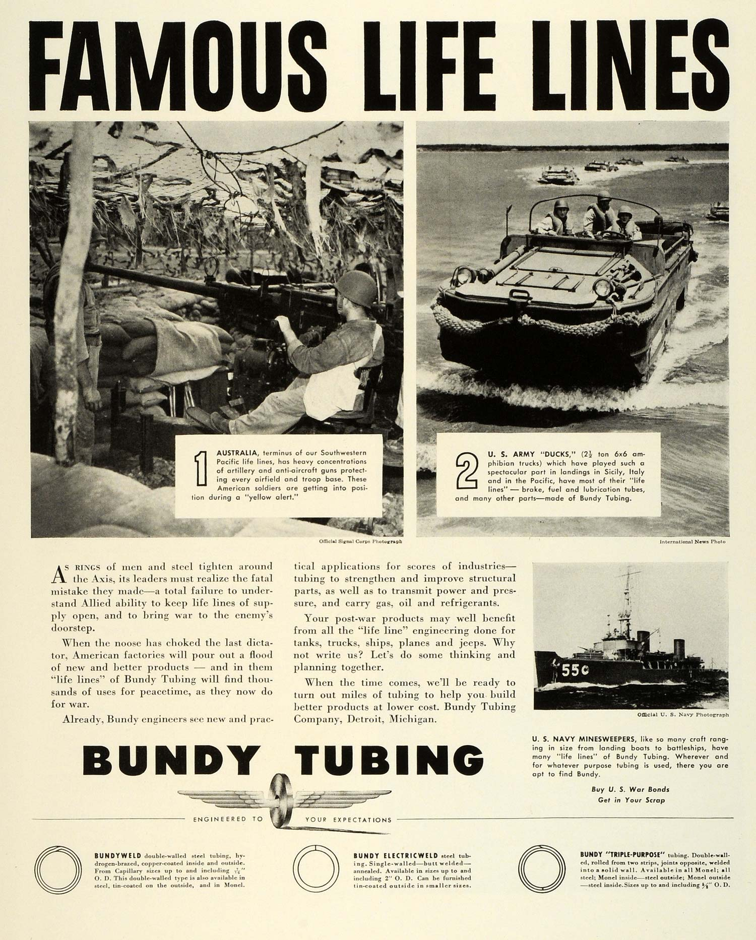1943 Ad Bundy Tubing Navy Minesweepers Army Ducks Weapons WWII War FZ6