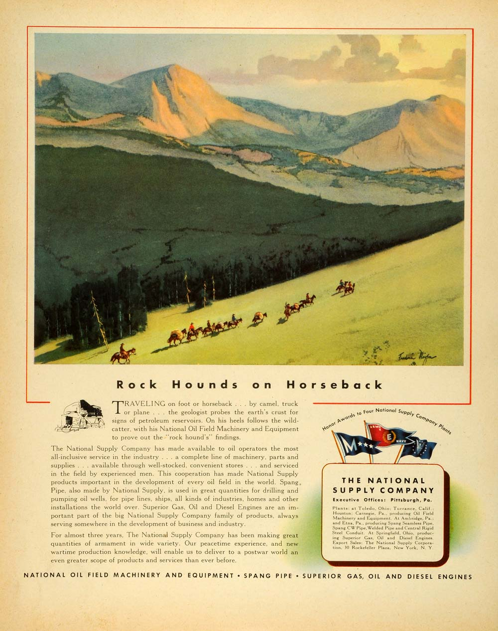 1944 Ad National Supply Oil Field Machinery & Equipment Mountains Cowboys FZ6