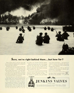 1944 Ad Jenkins Bros Valves Alloys Cast Steel Battlefront Combat WWII FZ6