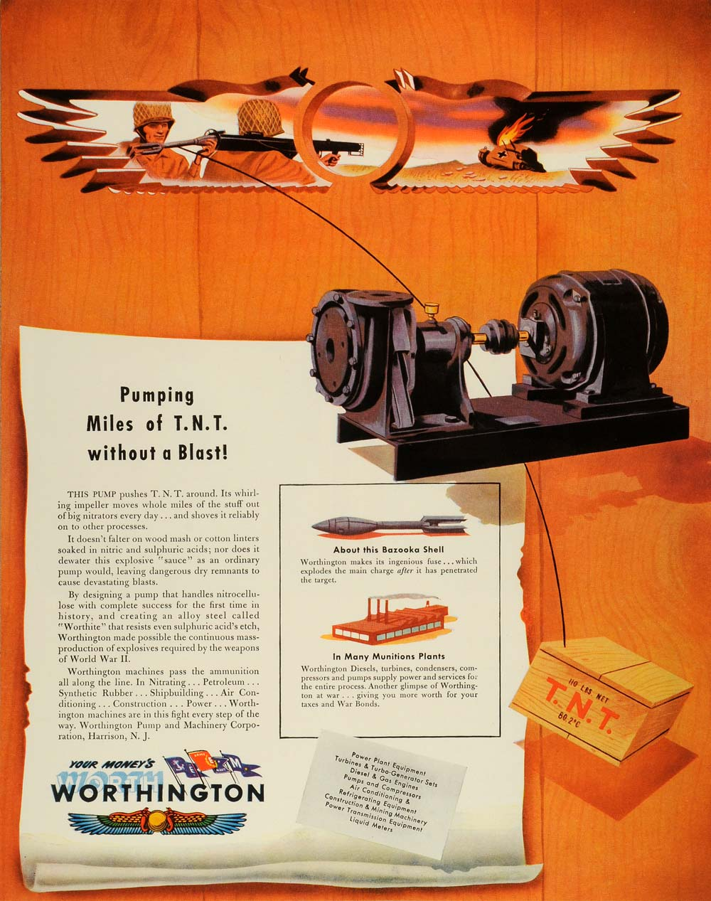 1944 Ad Worthington Pump & Machinery Corp  Harrison Logo Bazooka Shell WWII  FZ6