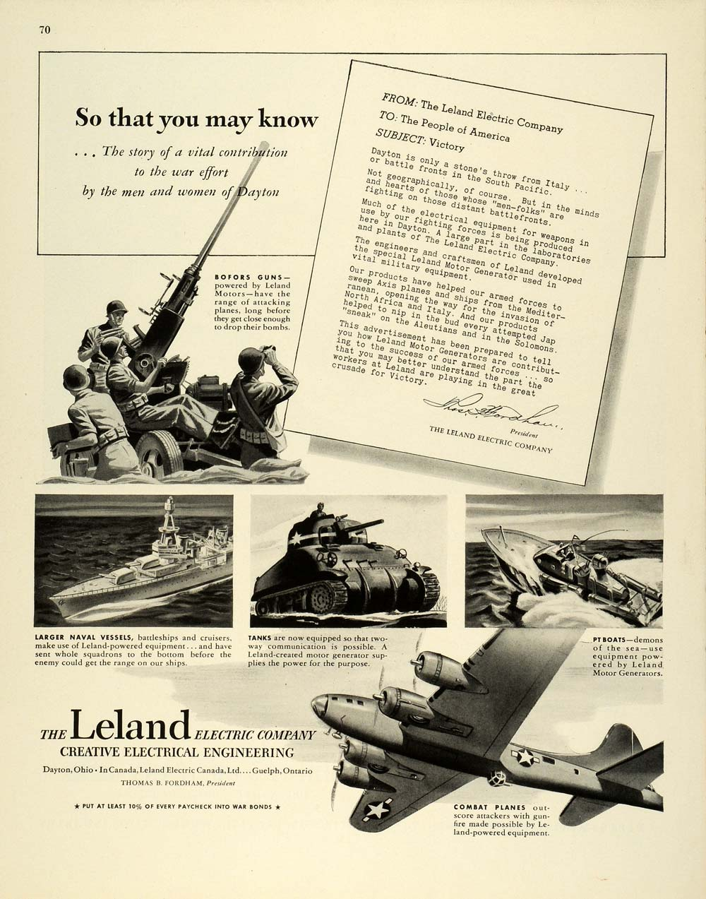 1944 Ad Leland Electric Letter Victory Bofor Gun Flying Fortress Engineering FZ6