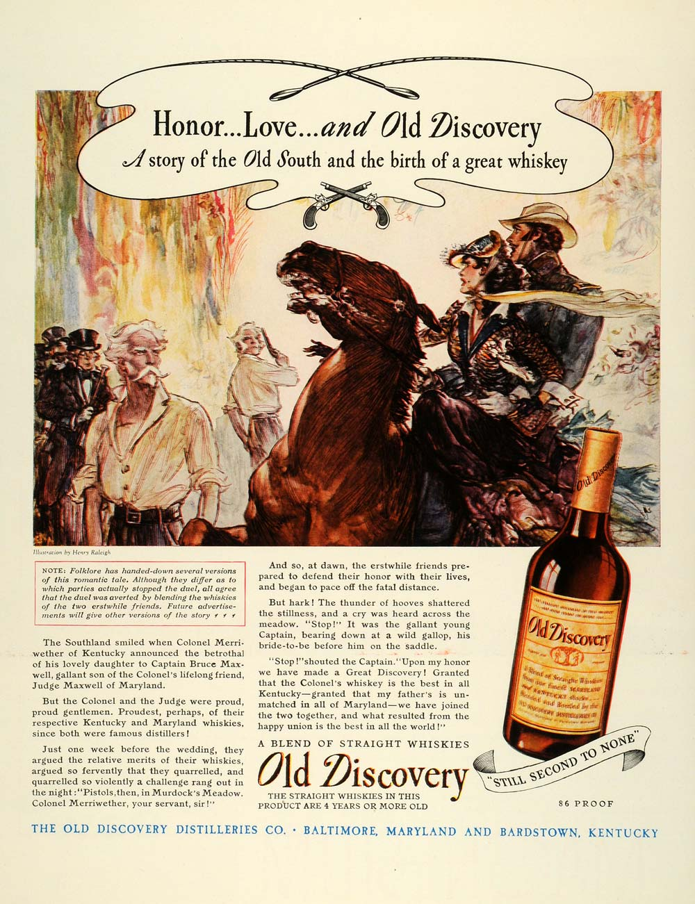 1944 Ad Old Discovery Distilleries Co Baltimore Straight Whiskies Henry FZ6