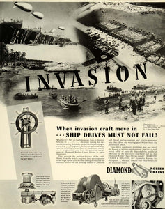 1944 Ad Diamond Chain Manufacturing Co Invasion WWII Roller Chains Engines FZ6