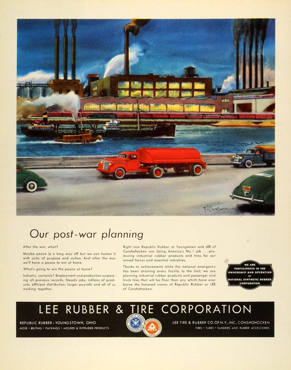 1944 Ad Lee Rubber & Tire Corp Vintage Vehicles Seaport Ships Factories FZ6