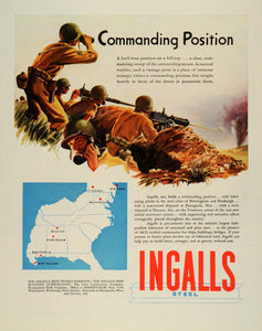 1944 Ad Ingalls Iron Works Steel Commanding Position Battlefield Servicemen FZ6