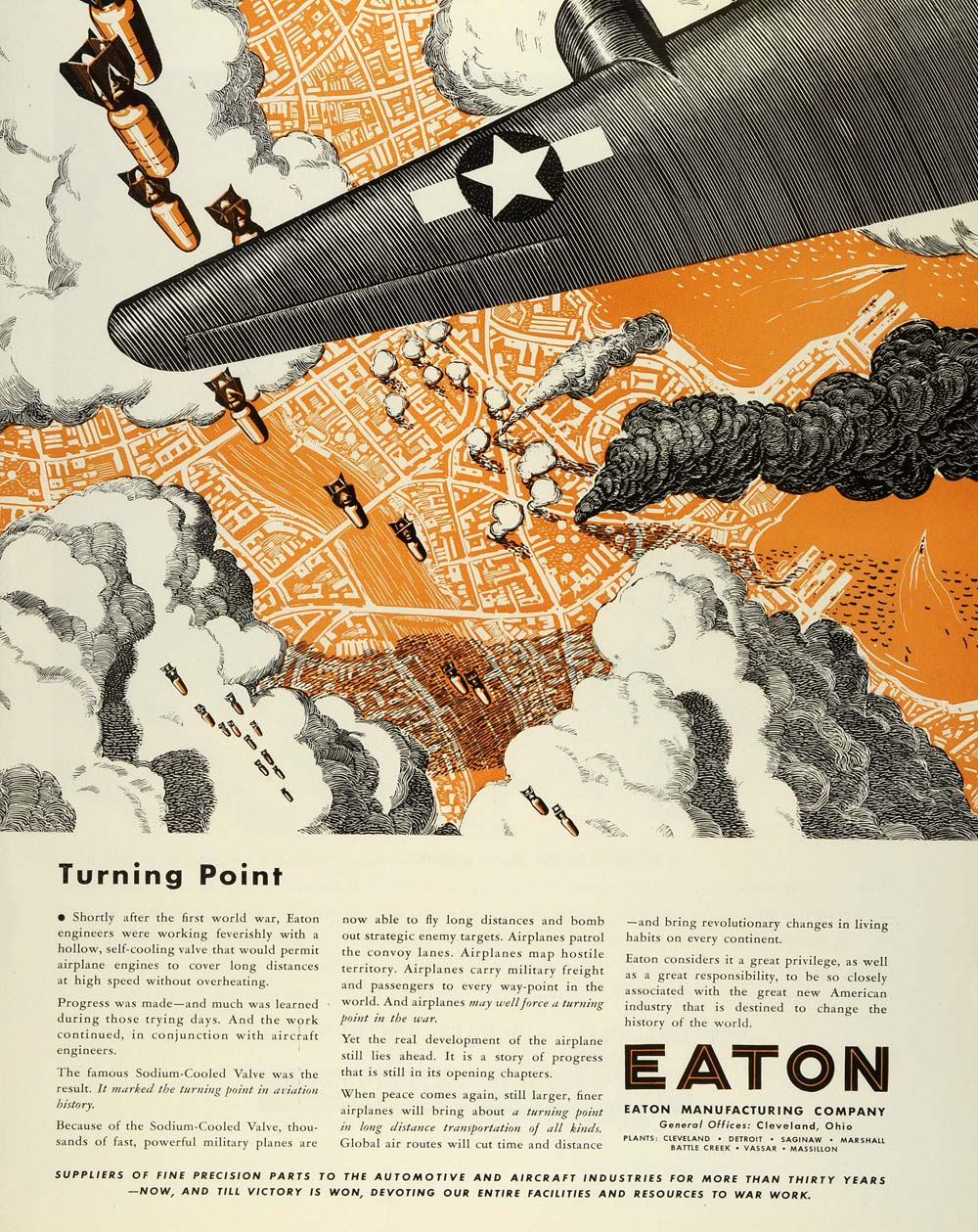 1944 Ad Eaton Manufacturing Aircraft Parts Torpedo Precision Parts Plane FZ6