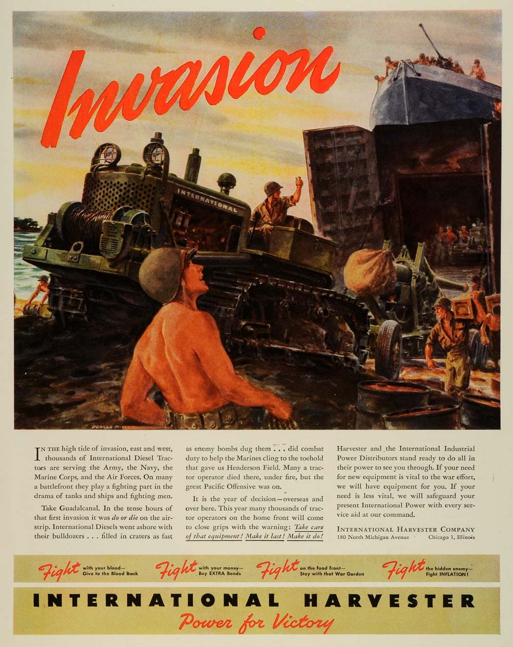 1944 Ad International Harvester Chicago Invasion Soldiers Wartime Tractors FZ6