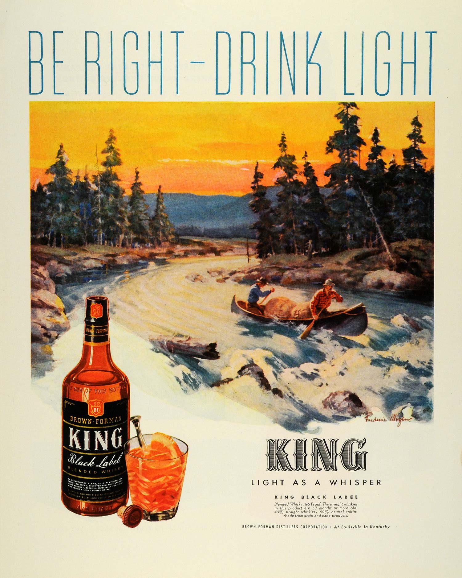1944 Ad Brown Forman King Black Label Whisky Frederic Mizen Art Canoeing FZ6