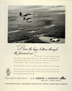 1944 Ad J.E. Sirrine Engineers WWII War Production Military Aircraft FZ6