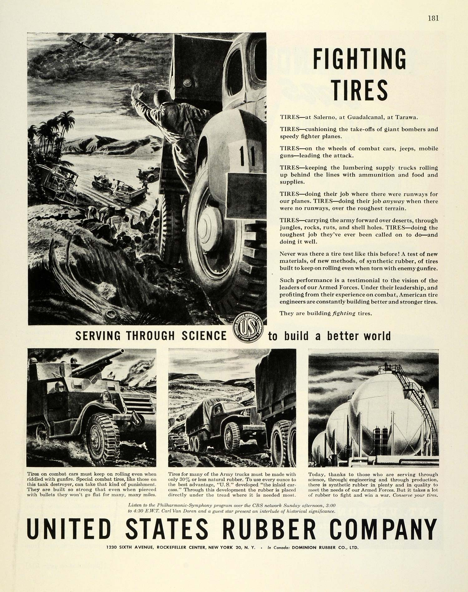 1944 Ad United States Rubber Tires World War II Military Trucks Vehicle FZ6