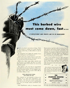 1944 Ad Standard Register Co Dayton OH Barbed Wire Control Record Systems FZ6