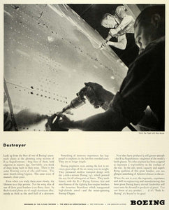 1944 Ad Boeing Co Aerospace Destroyer B-29 Superfortress Bomber Engineers FZ6