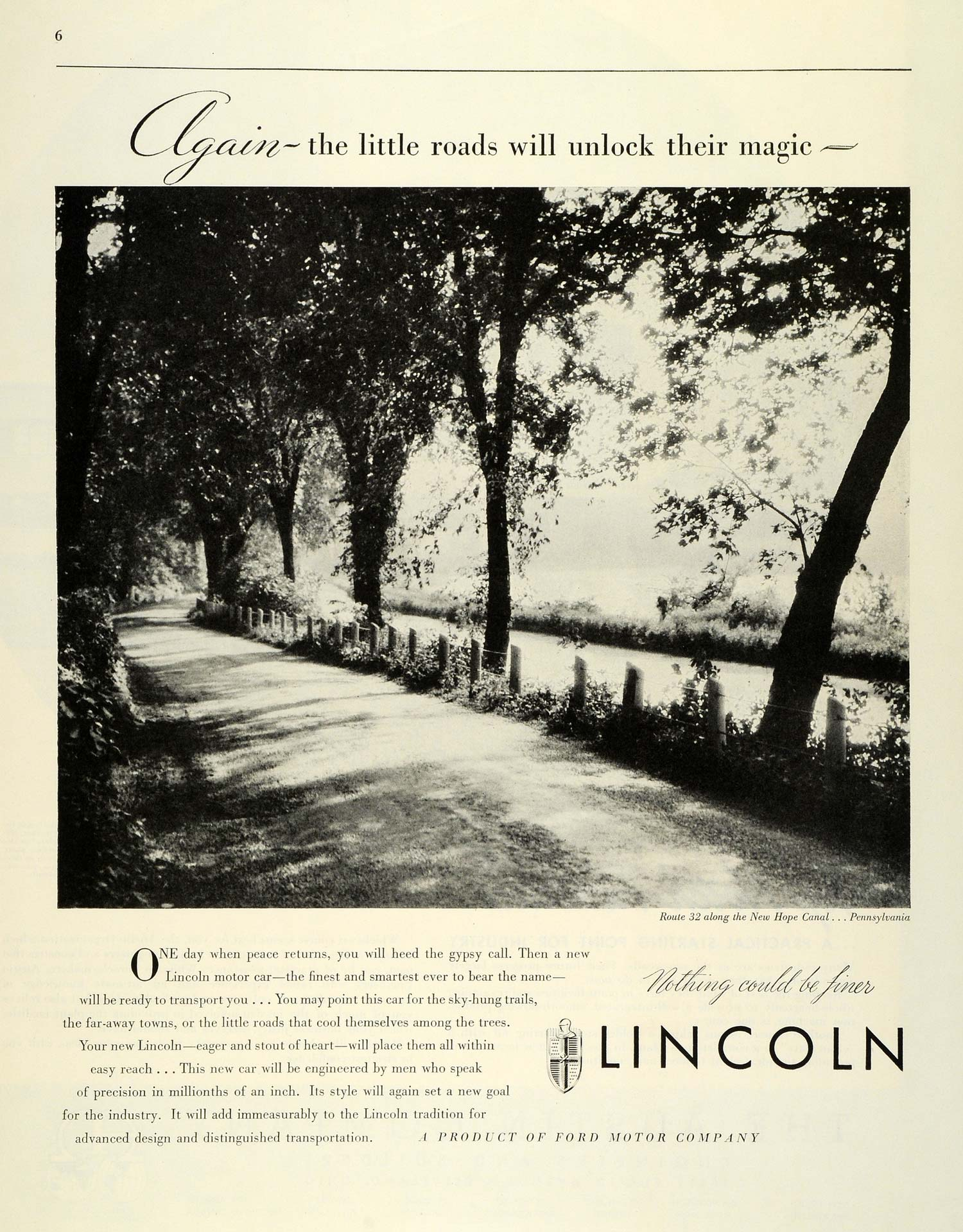 1944 Ad Lincoln Route 32 New Hope Canal Pennsylvania Automobile FZ6