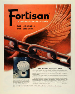 1944 Ad Celanese Fortisan Synthetic Yarn WWII War Production Airplane FZ6