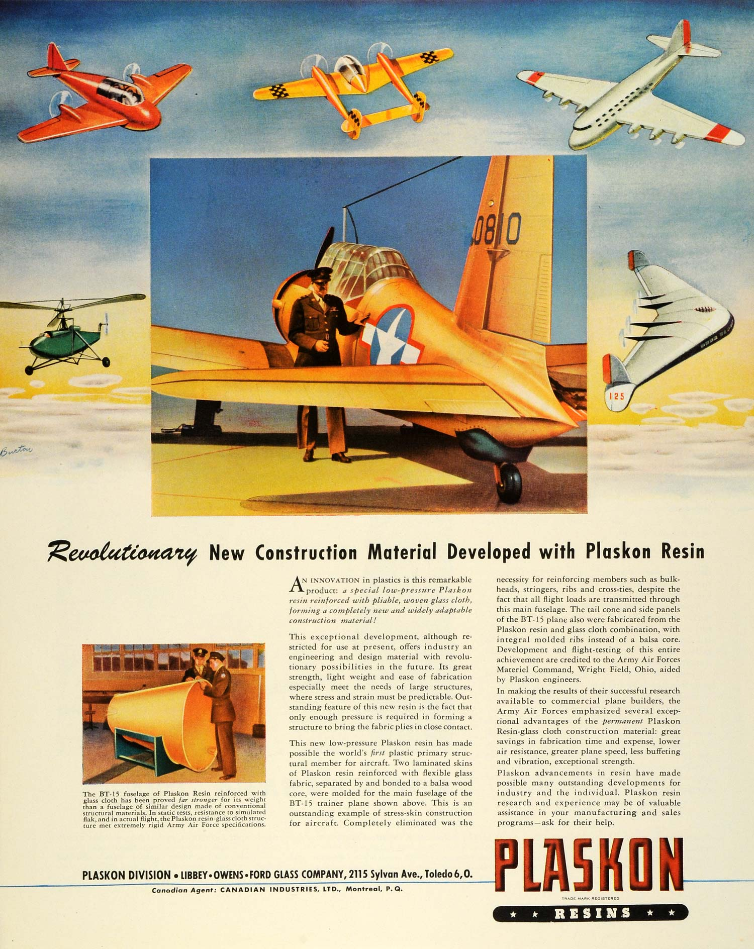 1944 Ad Plaskon Resin BT 15 Trainer Plane Air Force WWII War Production FZ6