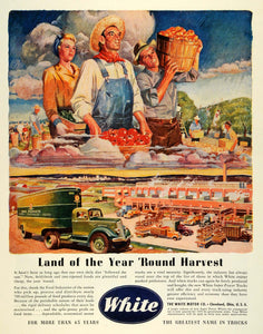 1945 Ad White Motor Super Power Trucks Commercial Hauling Farmer Farming FZ6