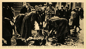 1944 Print Food Women Horse Carcass Germany Deutschland Depression Postwar FZ7