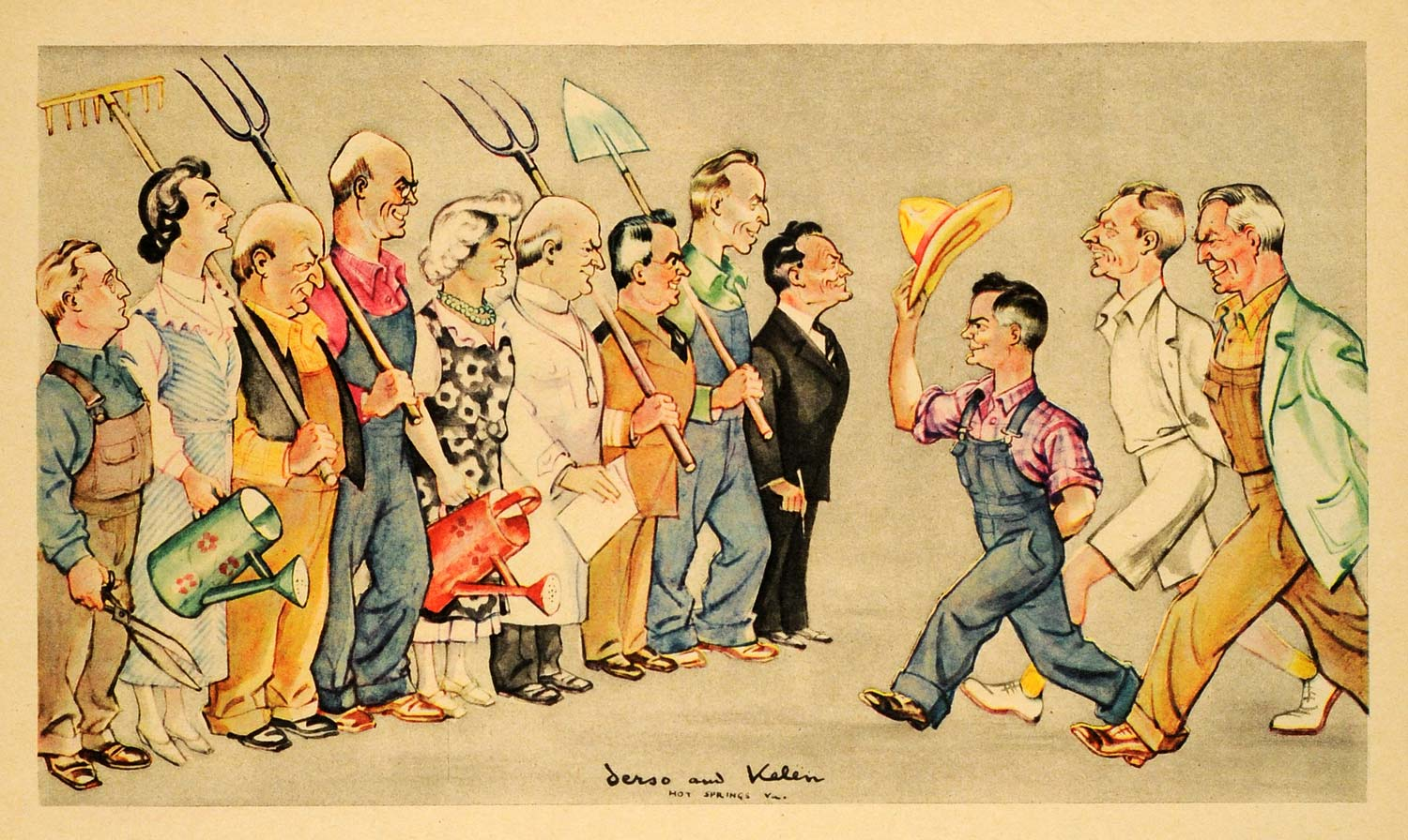 1943 Print Politics Farm Agriculture Cartoon Delegate Lincoln Bureau Derso FZ7