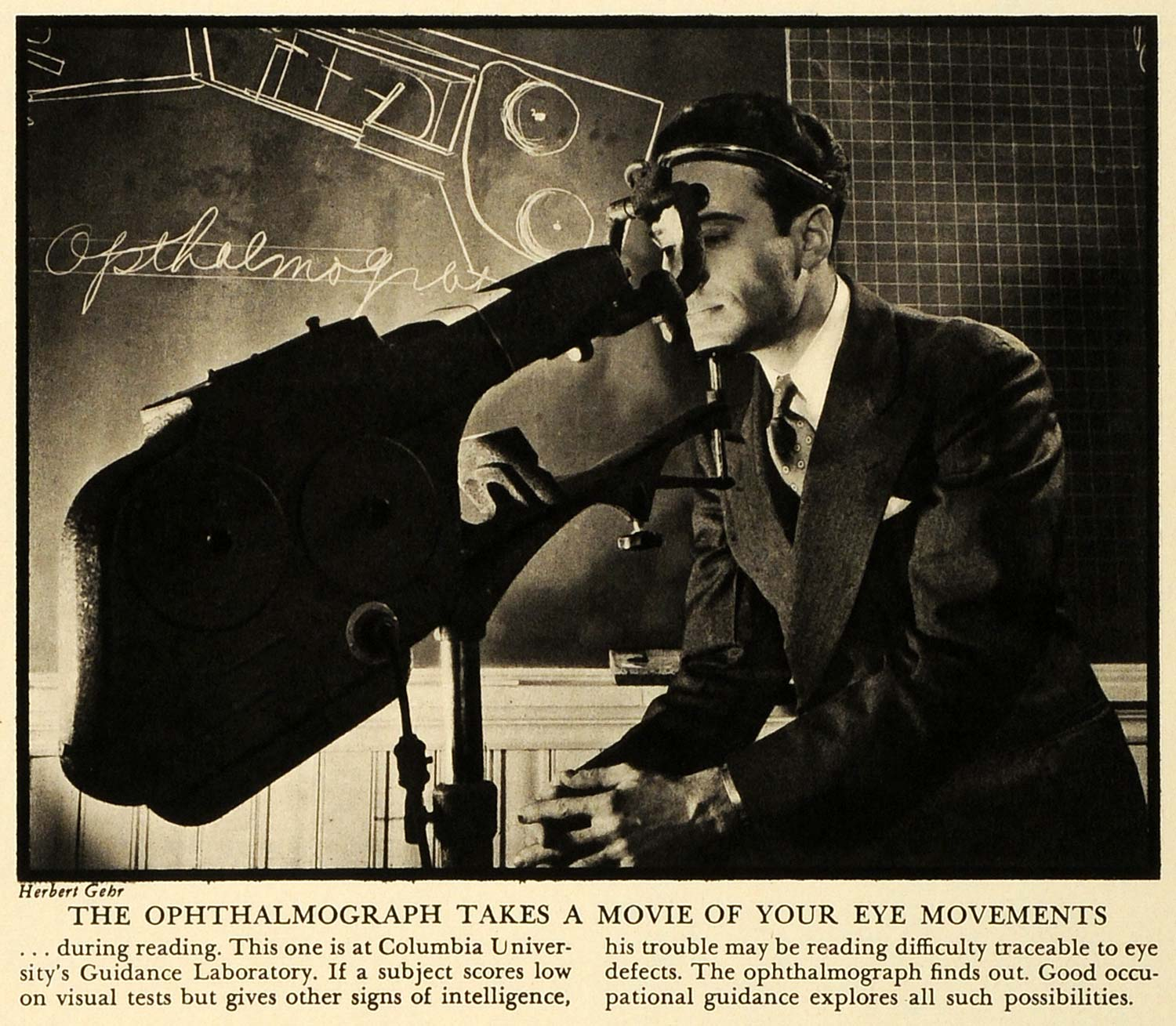 1941 Print Ophthalmograph Eye Movements Herbert Gehr Columbia University FZ7
