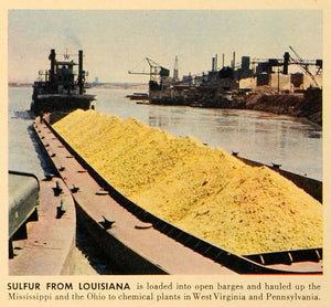 1942 Print Sulfur Louisiana Barge Mississippi River West Virginia Chemical FZ7