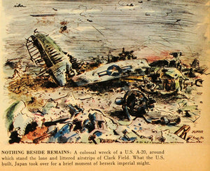 1945 Print Plane Vidar Ruin Destruction Pilot Clark Field Japanese Battle FZ7
