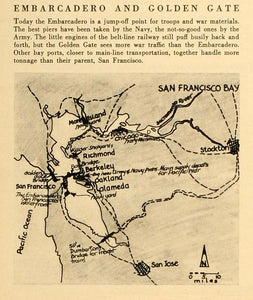 1945 Print Embarcadero Golden Gate San Francisco California Map Jose FZ7