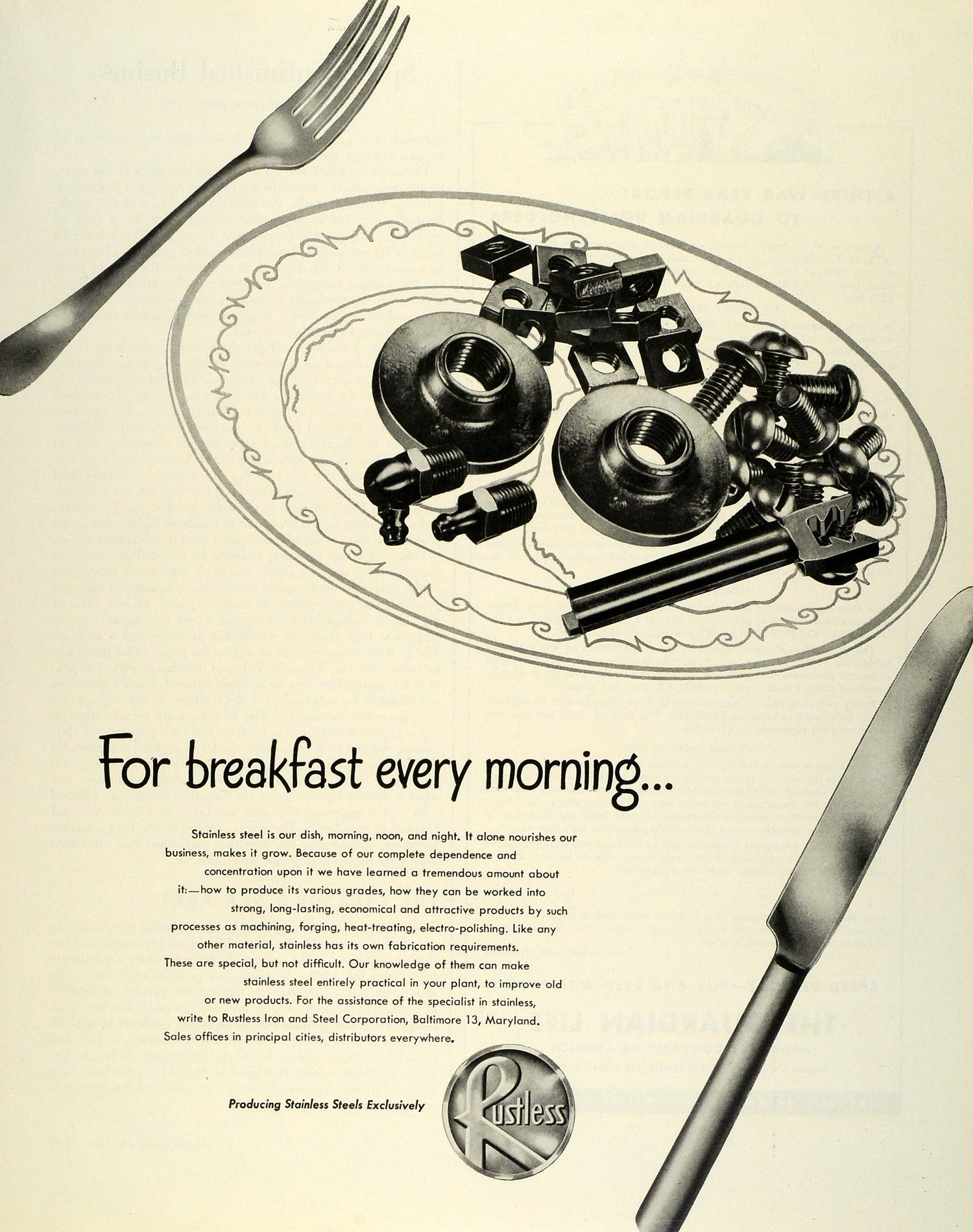 1945 Ad Rustless Iron Steel Nuts Bolts Breakfast Metal Metallurgical FZ8