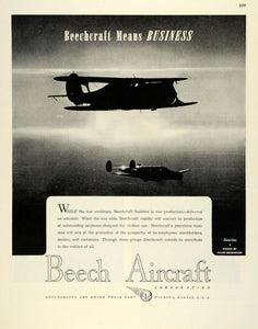 1945 Ad WWII War Production Beechcraft Beech Aircraft Military Airplanes FZ8