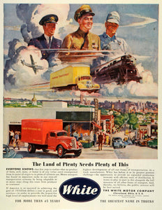 1945 Ad Urban Trucking White Motor Trucks WWII War Production Shipping FZ8