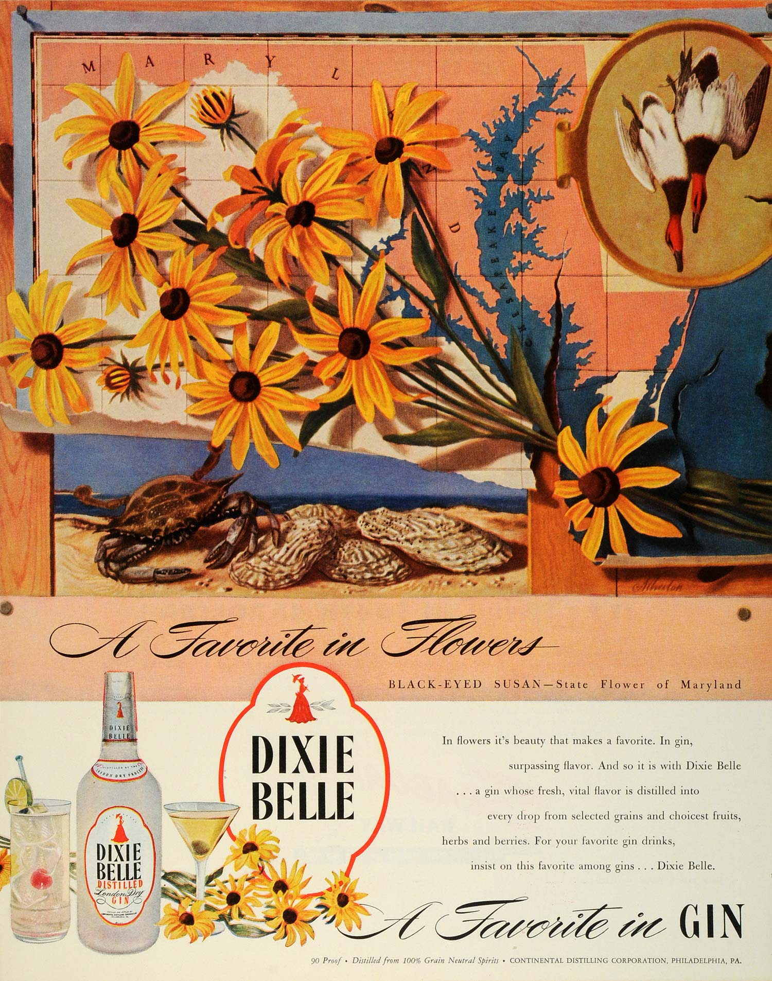 1945 Ad Dixie Belle Gin Continental Distilling Black Eyed Susan Flowers FZ8