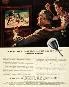 1945 Ad Union Carbide & Carbon Corp Baseball Game Grandfather & Grandson FZ8
