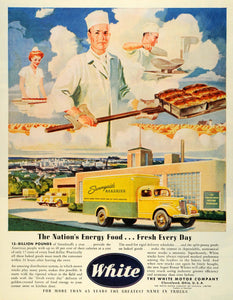 1945 Ad White Motor Co Cleveland Sunnyside Bakeries Trucks Plant Baking City FZ8