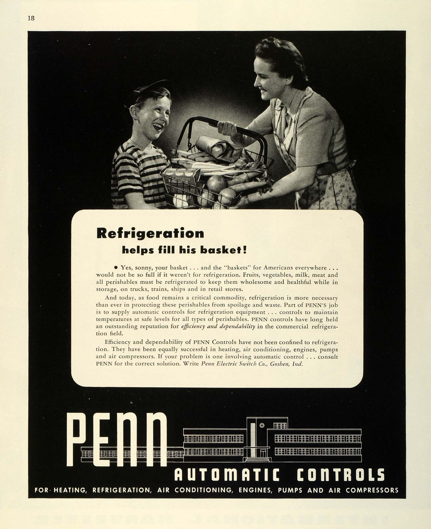 1945 Ad Penn Electric Switch Automatic Controls Air Compressors Vegetable FZ8