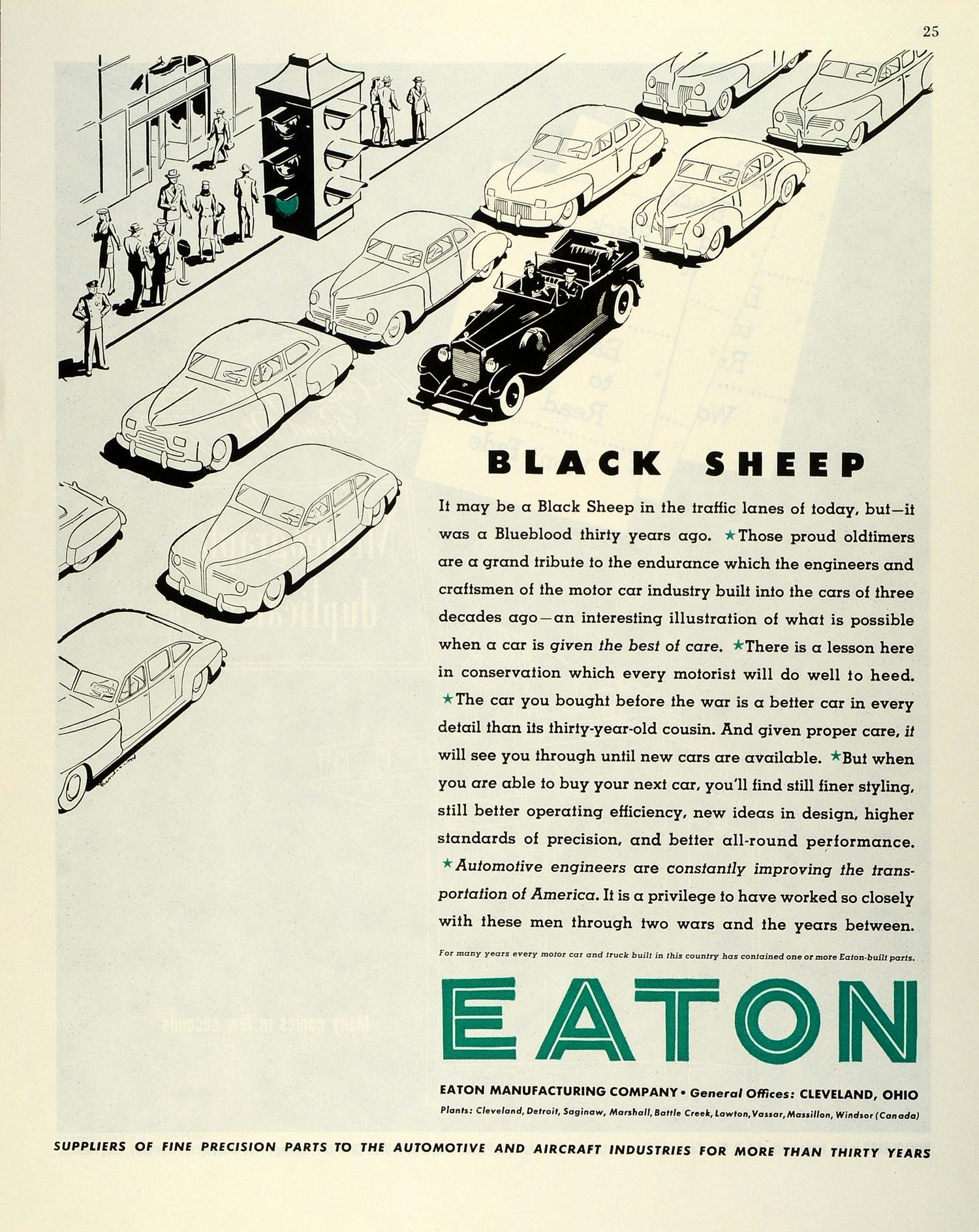 1945 Ad Eaton Manufacturing Co Black Sheep Car Traffic Lanes Precision Parts FZ8