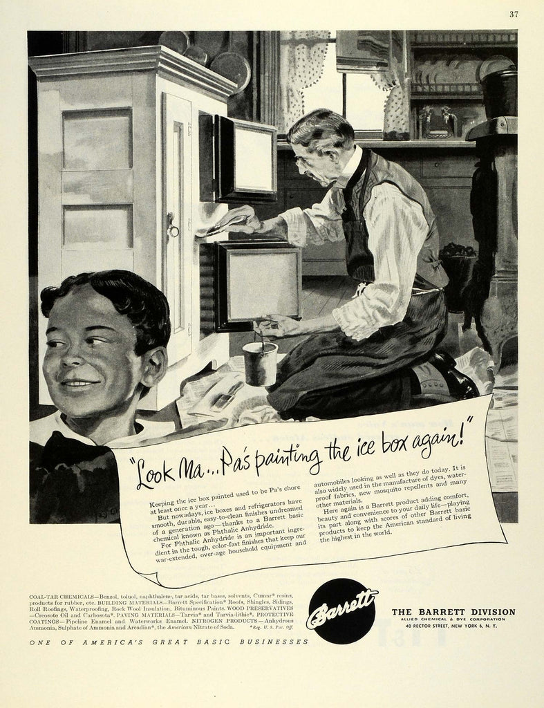 1945 Ad Barrett Coal-Tar Chemical Phthalic Anhydride Painted Ice Box Father  FZ8