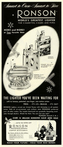 1945 Ad Ronson Redskin Lighter Accessories Cigarettes Crown Table Fuel FZ8