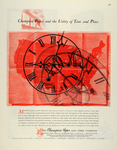 1945 Ad Champion Paper & Fibre Co Clock Time Publishers Coated Papers Bonds FZ8