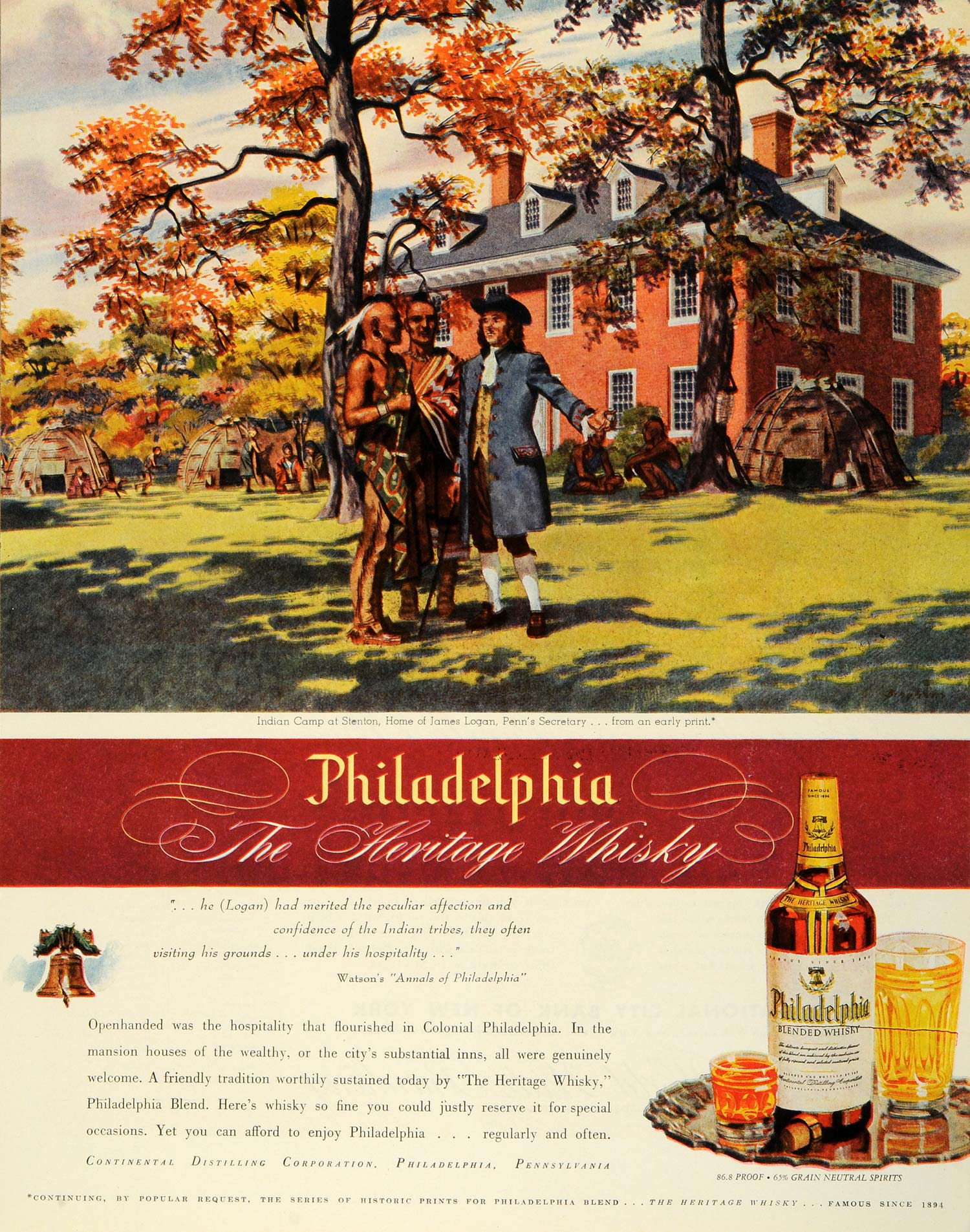1945 Ad Continental Indian Camp James Logan Home Stenton Philadelphia Whisky FZ8