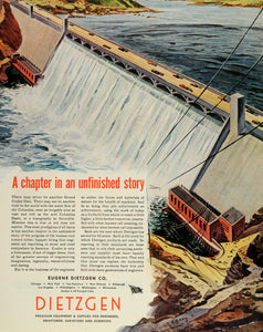 1945 Ad Eugene Dietzgen Co Grand Coulee Dam Gravity Columbia River FZ8